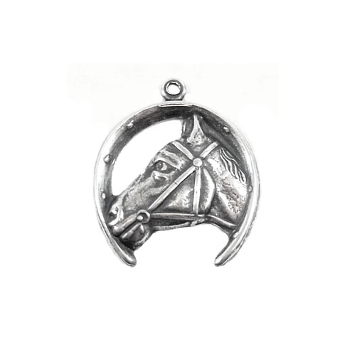 brass horse charms, horse and horseshoe, 03417, horseshoe charm, silver plate, antique silver, silverware silver plate, vintage jewelry supplies, jewelry making supplies, US made, Bsue Boutiques,