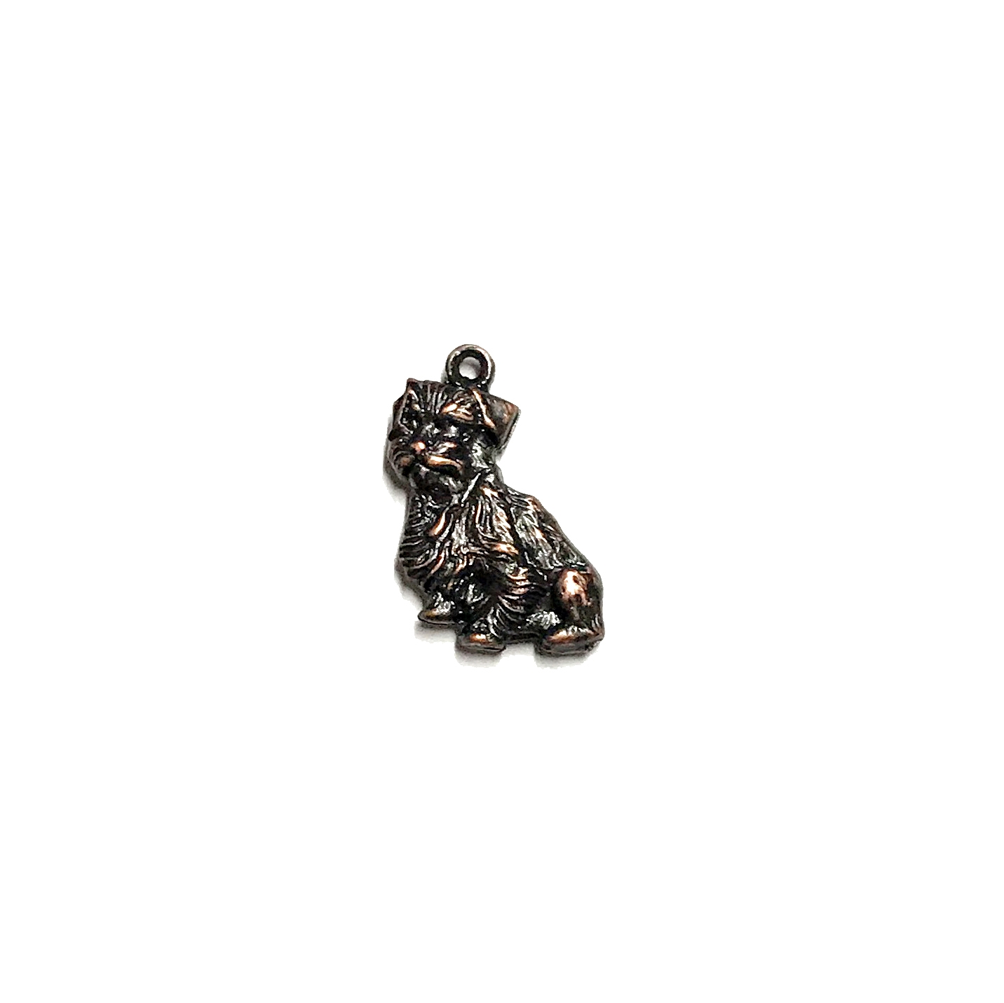 scotty dog charm, rusted iron brass, charm, puffy charm ,two sided, pet charm, dog, scotty, scotty dog, 15x13mm, stamping, rusted iron, brass, us made, nickel free, B'sue Boutiques, jewelry making, jewelry findings, jewelry supplies,vintage supplies,03503