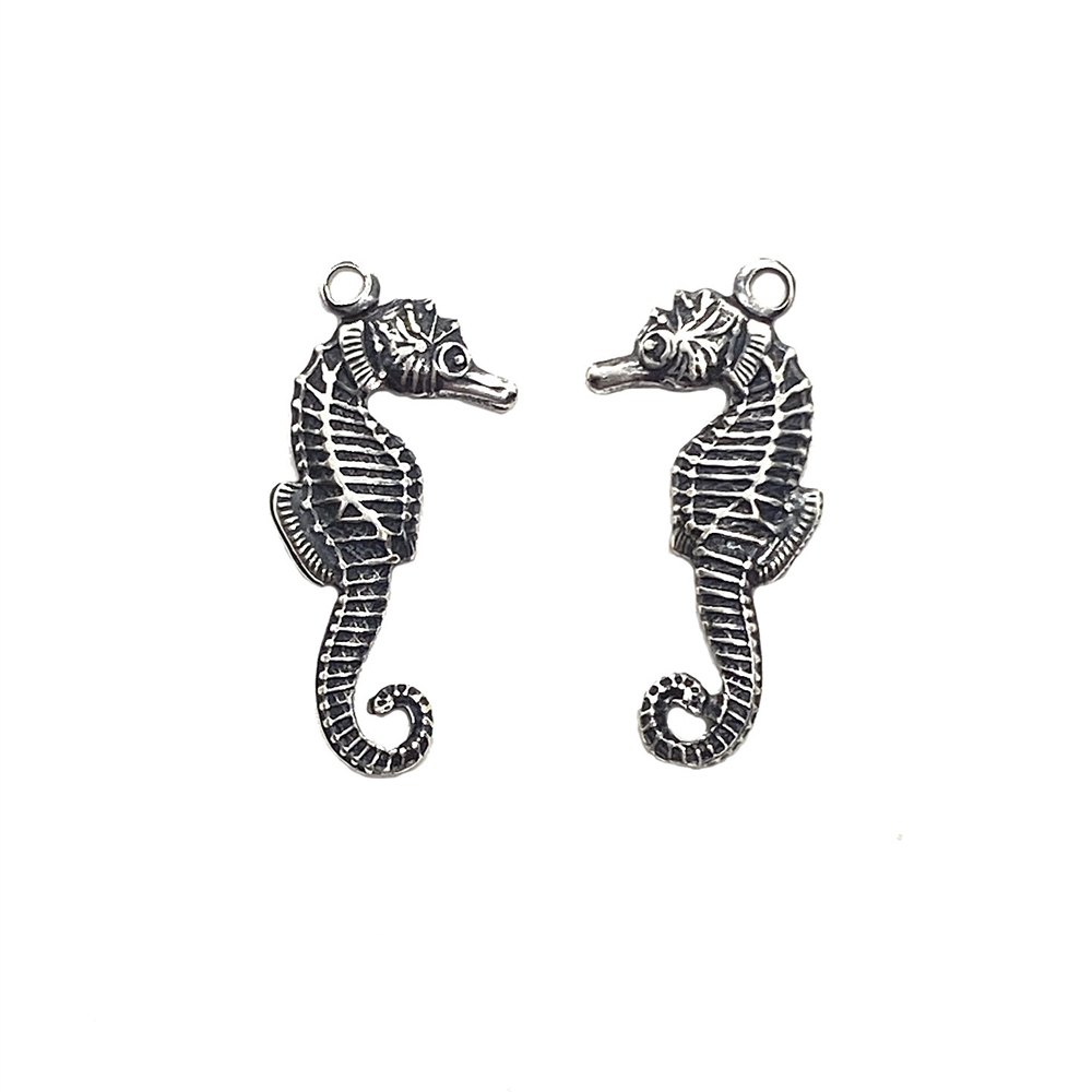 brass seahorse, beach jewelry, jewelry making, 03519, B'sue Boutiques, US made jewelry, nickel free jewelry, vintage jewelry supplies, jewelry making supplies, seahorse charms, silverware silverplate, ocean, sea life, silver charms