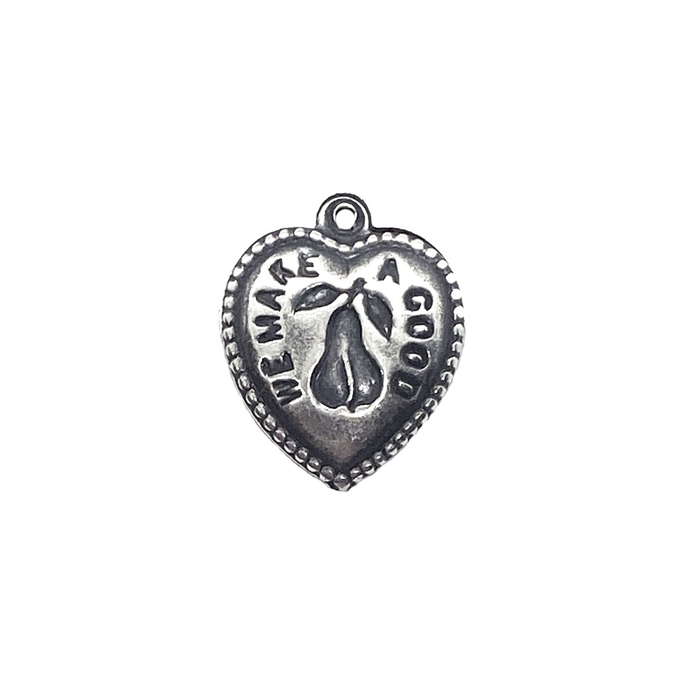 heart charm, puffy heart, 03521, silverware silverplate, silver, silver heart, charm, we make a good pair, jewelry supplies, pear