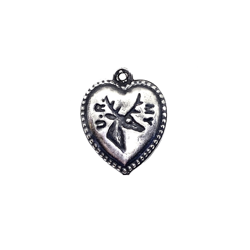 heart charm, puffy heart, 03522, silverware silverplate, silver, silver heart, charm, you are my dear, jewelry supplies, deer