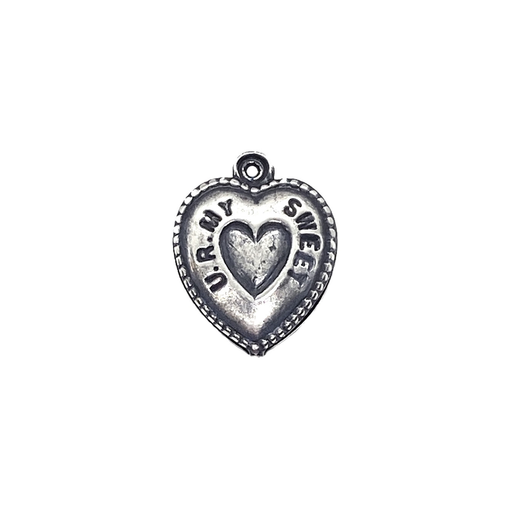 heart charm, puffy heart, 03523, silverware silverplate, silver, silver heart, charm, you are my sweetheart, jewelry supplies