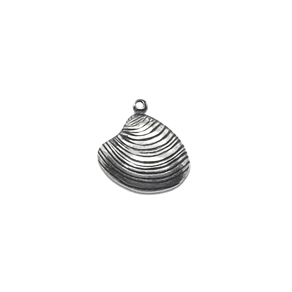 brass charms, shells, 03526, silverware silverplate, dimensional shell, 16 x 15mm, beach, ocean, shell, beach jewelry, nautical, B'sue Boutiques, jewelry supplies, silver shell charm, seashell