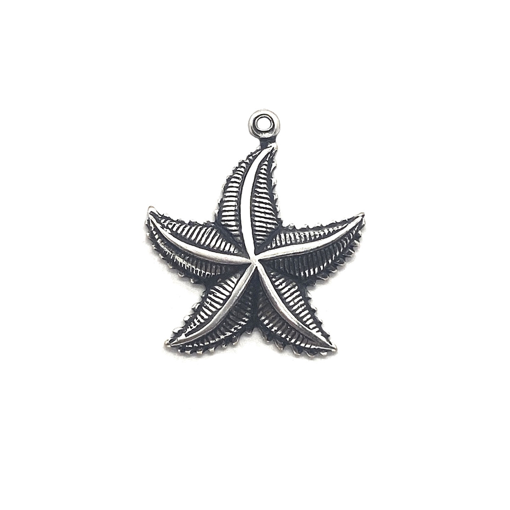 brass starfish, beach jewelry, silverware silverplate, 03561, vintage jewelry supplies, jewelry making supplies, silver starfish, silver charm, starfish charms, beach charms, sea life charms, B'sue Boutiques