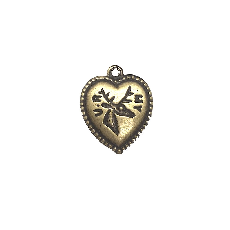 heart charm, puffy heart, 03577, brass ox, brass heart, charm, you are my dear, jewelry supplies, deer
