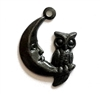 owl on moon, matte black, ebony brass, owl, moon, charm, brass stamping, owl charm, moon charm, 20x14mm, antique black, accents, bracelet, necklace, us made, nickel free, B;'sue Boutiques, jewelry making, jewelry supplies, jewelry findings, vintage, 03588