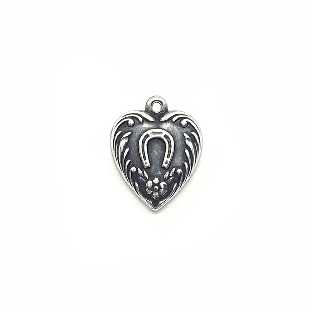 heart charm, horseshoe, 03609, silverware silverplate, silver, silver heart, charm, jewelry supplies, floral heart, horses, brass heart, plated heart charm