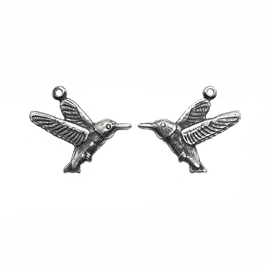 pair of flying birds, charms, silverware silverplate, brass stamping, birds, antique silver, flying birds, bird, left, right, pairs, 19x16mm, connector, US-made, nickel-free, jewelry findings, jewelry supplies, B'sue Boutiques, 03611