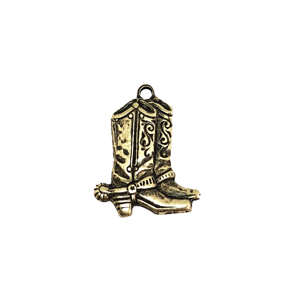 cowboy boots, brass ox, antique brass, boot charm, charm, boots, cowboy jewelry, nickel free, US made, cowboy boot charm, 20x16mm, brass, jewelry making, jewelry supplies, vintage supplies, jewelry findings, B'sue Boutiques, boot charm, 03622