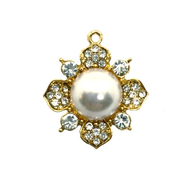 floral pendant, gold tone, B'sue Boutiques, 28mm, jewelry making, jewelry supplies, vintage supplies, jewelry findings, 03654, pendant, embellished pendant, pearls and rhinestones, flower pendant
