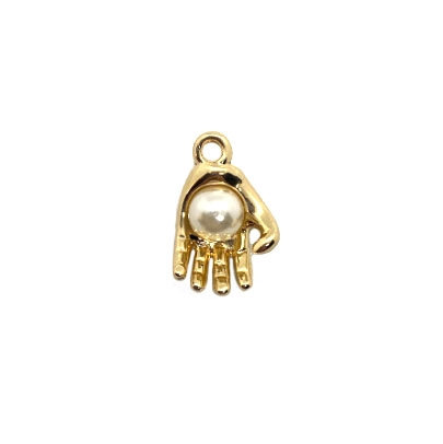 hand charm, gold tone, 03655, charms, gold hand holding a pearl, pearl charm, hand, B'sue Boutiques, jewelry supplies, jewelry making