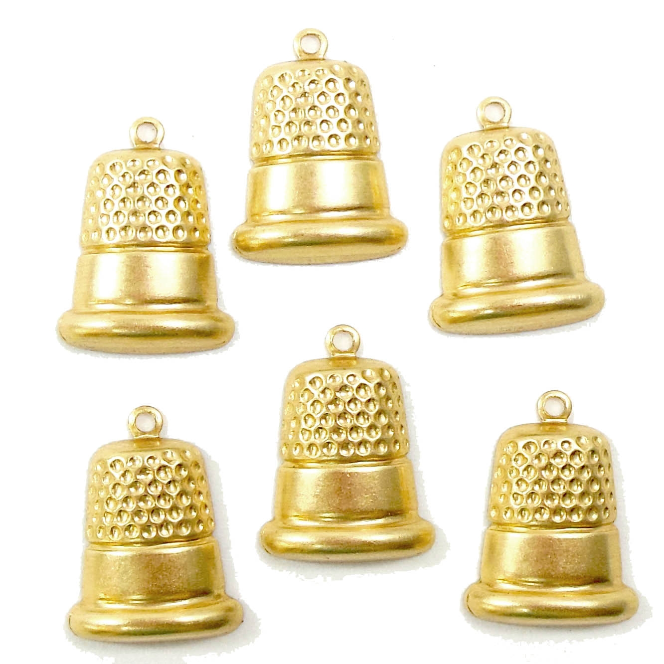 thimble charms, jewelry making, raw brass, 16 x 14