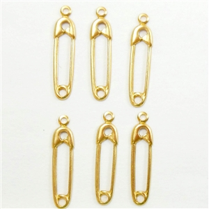 safety pin charms, jewelry making, raw brass, 20mm