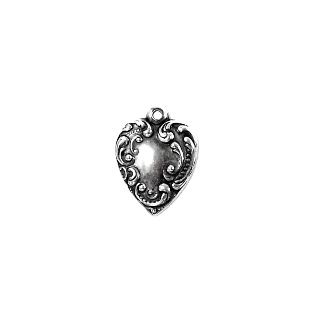 heart charms, brass charms, silverware silver plate, 03878, antique silver, heart jewelry, jewelry making supplies, vintage jewelry supplies, US made, nickel free, bsueboutiques