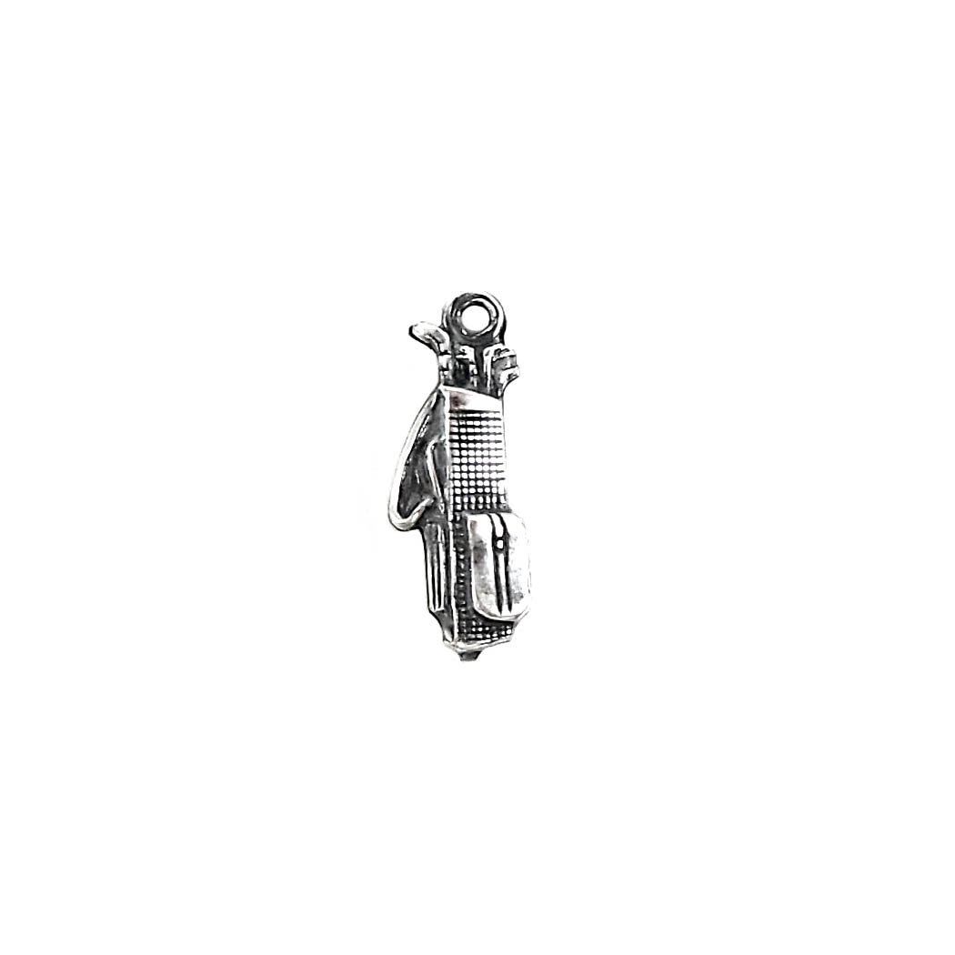 golfing charms, jewelry making, antique silver, 18mm, golf bag, 03899, golf, golfing, sports, silverware silverplate, charm, golf charm, jewelry supplies, B'sue Boutiques