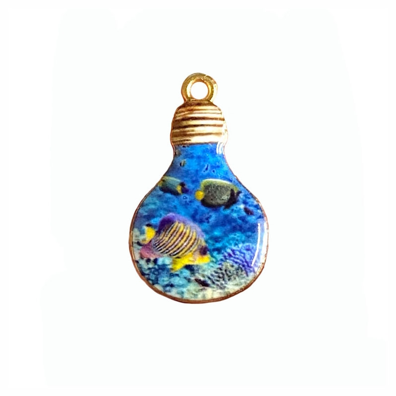 yellow striped fish in the light bulb charm, fish charm, under the sea, charm, enamel charm, gold plated charm, jewelry charm, sea life, zinc alloy, 28x17mm, vintage supplies, jewelry supplies, charm supplies, fish in a bulb, 03933