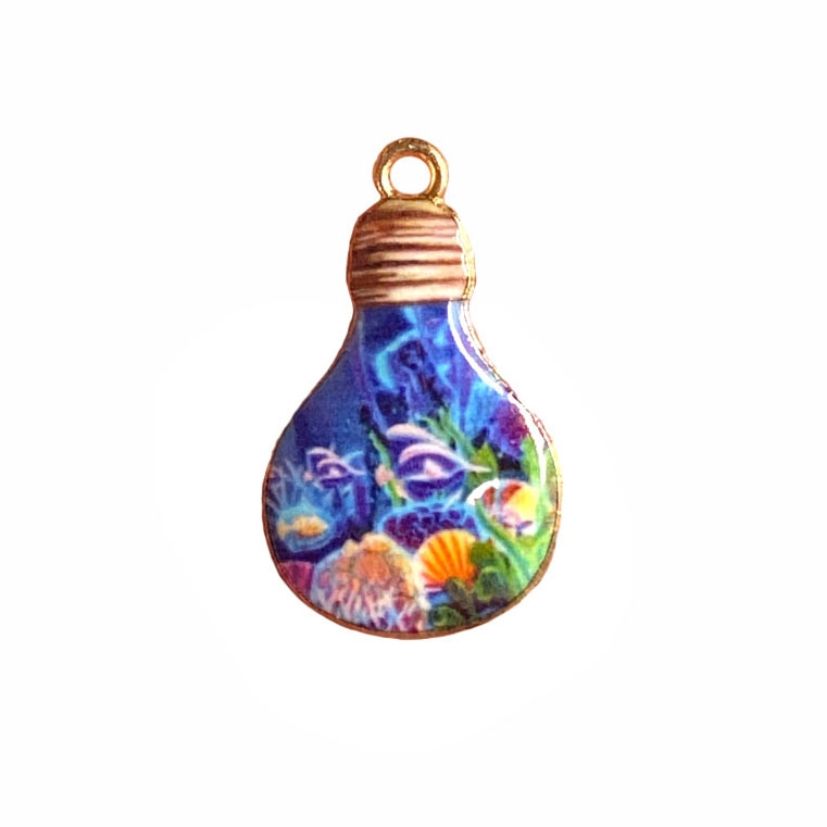 ocean scene light bulb charm, sea life charm, under the sea, charm, enamel charm, gold plated charm, jewelry charm, sea life, zinc alloy, 28x17mm, vintage supplies, jewelry supplies, charm supplies, 03934