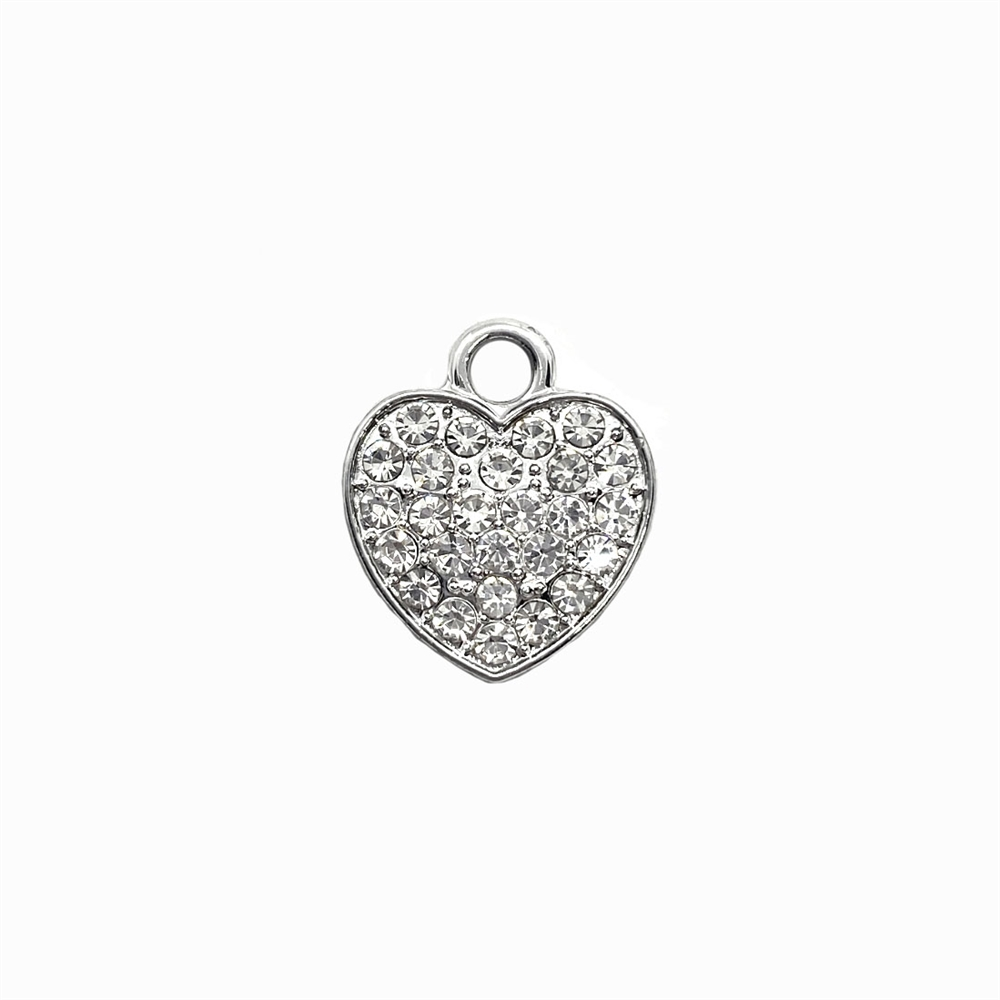 rhinestone heart charm, clear crystal, 04218, charm, charms, hearts, B'sue Boutiques, jewelry supplies, embellishments, silvertone, rhinestones, jewelry making, love, bling