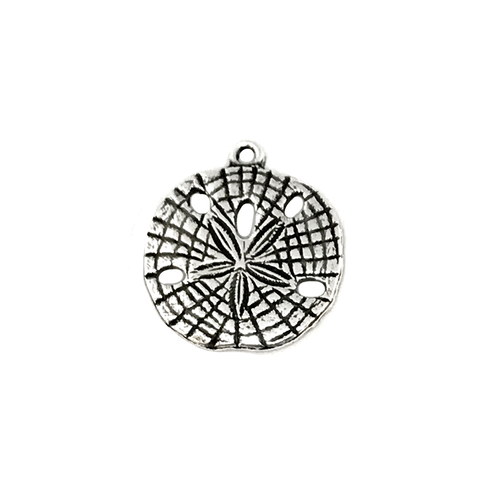 sand dollars, pendent style, silverware silver, pendent, sand dollar charms, beach jewelry, brass stamping, 18mm, us made, B'sue Boutiques, antique silver, nickel free, jewelry making, vintage supplies, jewelry supplies, jewelry findings, 04472