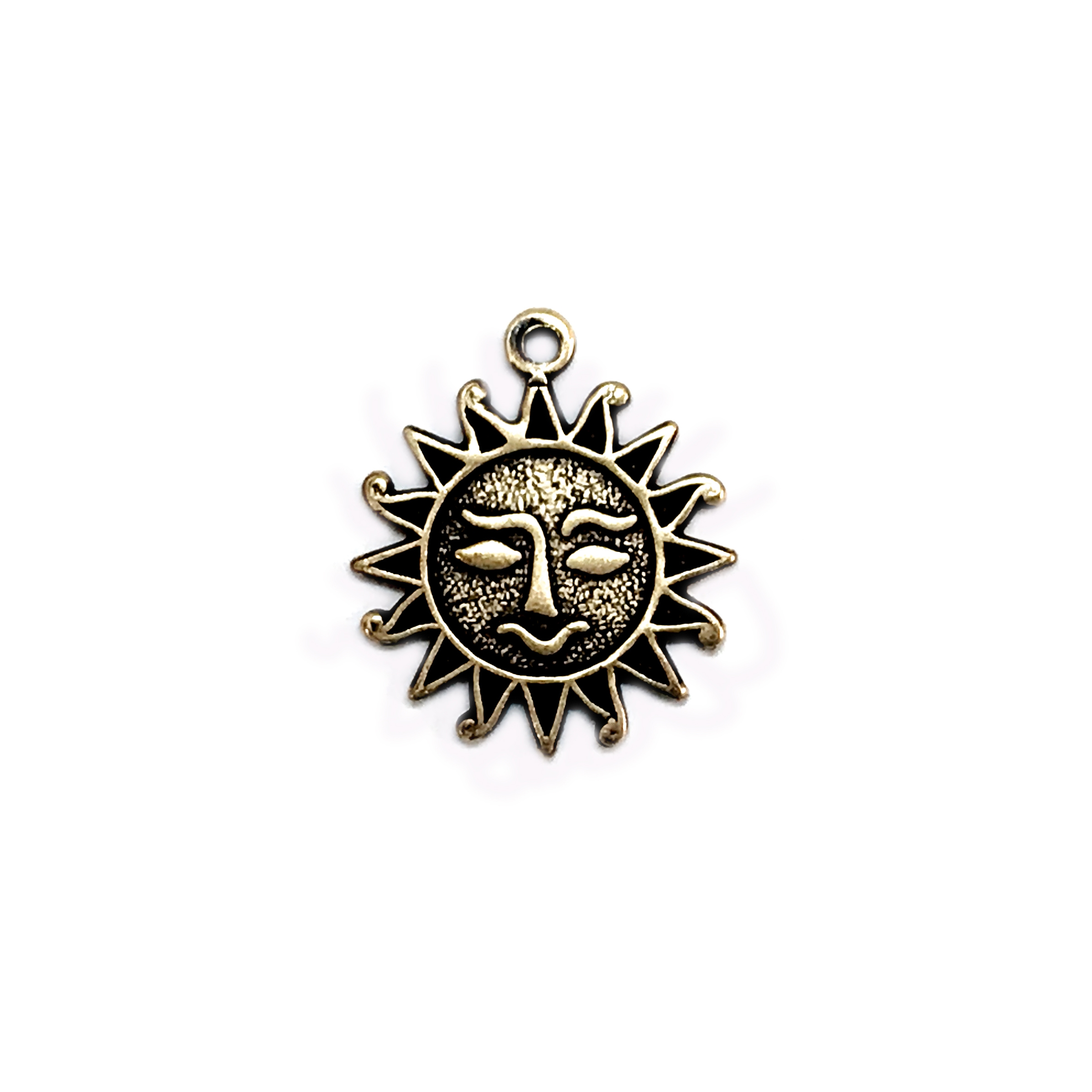 sun face stampings, rusted iron, brass sun faces, 16mm, antique brass, us made, nickel free, B'sue Boutiques, jewelry making, vintage supplies, jewelry supplies, jewelry findings, 04473