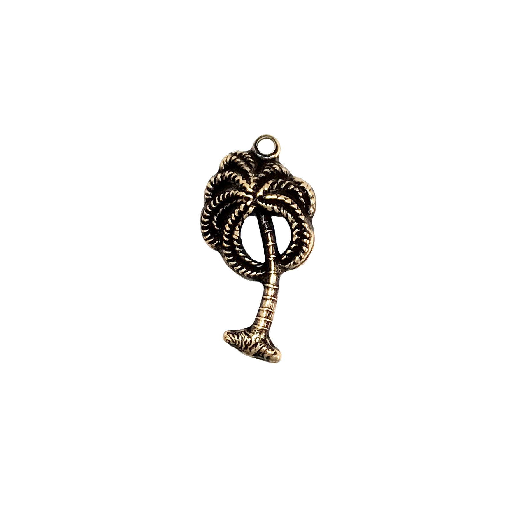brass charm, palm tree charms, jewelry making, 04476, brass ox, antique brass, brass jewelry parts, vintage jewelry supplies, beach jewelry, US made jewelry, nickel free jewelry, B'sue Boutiques,