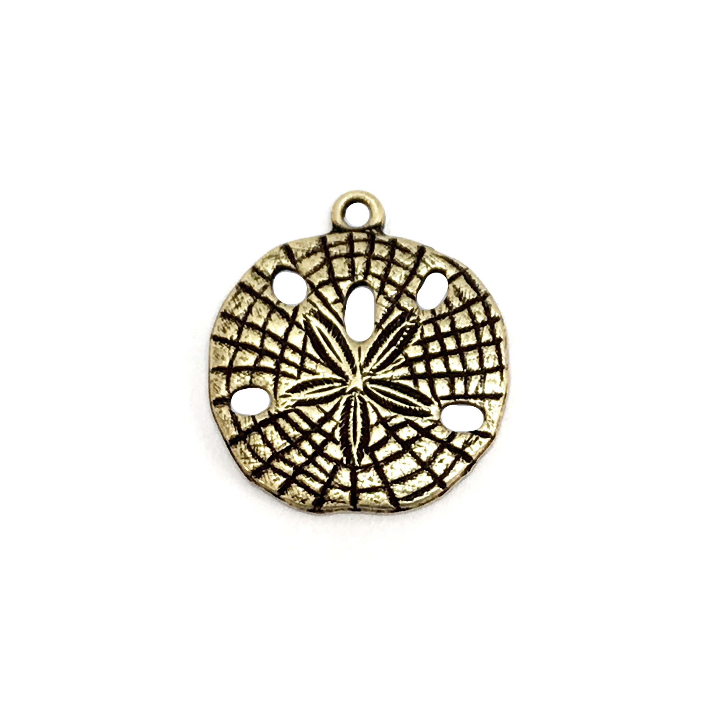 sand dollars, pendent style, brass ox, pendent, sand dollar charms, sea jewelry, beach jewelry, brass stamping, 18mm, us made, B'sue Boutiques, antique brass, nickel free, jewelry making, vintage supplies, jewelry supplies, jewelry findings, 04478