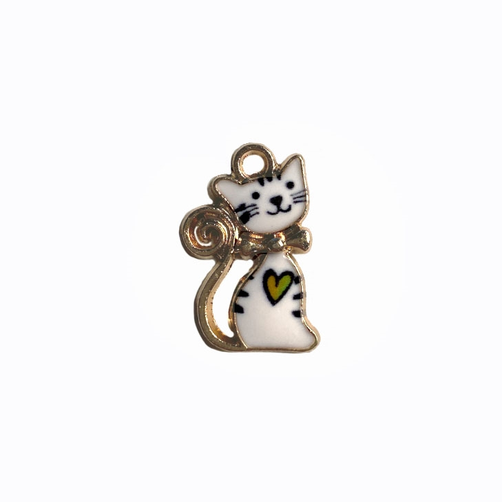 kitty charm, sitting black and white cat, kitty, cat, charm, pendant, 21 x 13mm, B'sue Boutiques, jewelry making, vintage supplies, jewelry supplies, jewelry findings, 04479, white enamel, gold plate, sitting kitty, cat charm