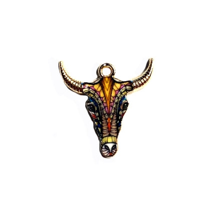 Bull Head Charm, Enamel, 04481, charm, pendant, 22x21mm, B'sue Boutiques, jewelry making, vintage supplies, jewelry supplies, jewelry findings, gold plate, bull head pendant, earth tone enamel, animals, pets, cow, cow's head, bull's face, longhorn