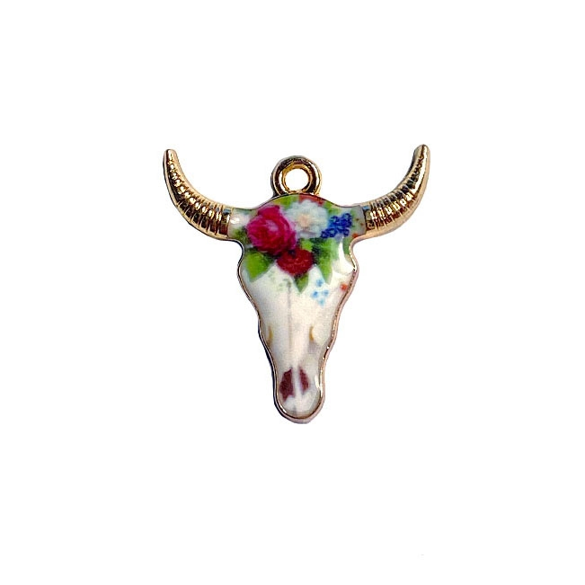 Bull Head Charm, Enamel charm, 04482, charm, pendant, 22x21mm, B'sue Boutiques, jewelry making, vintage supplies, jewelry supplies, jewelry findings, gold plate, bull head pendant, enamel, animals, pets, cow, cow's head, bull's face, longhorn