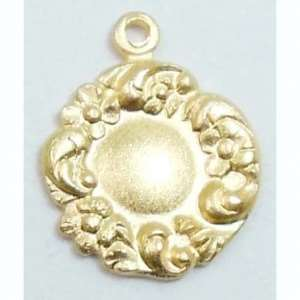 Charm, Closed Wreath Style, Satin Matte Gold, 12 x 13mm