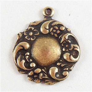 brass charms, floral charms, jewelry making, 04750, vintage jewelry supplies, brass pendants, antique brass, brass ox, floral pendants, US made, Bsue Boutiques, nickel free, 18mm