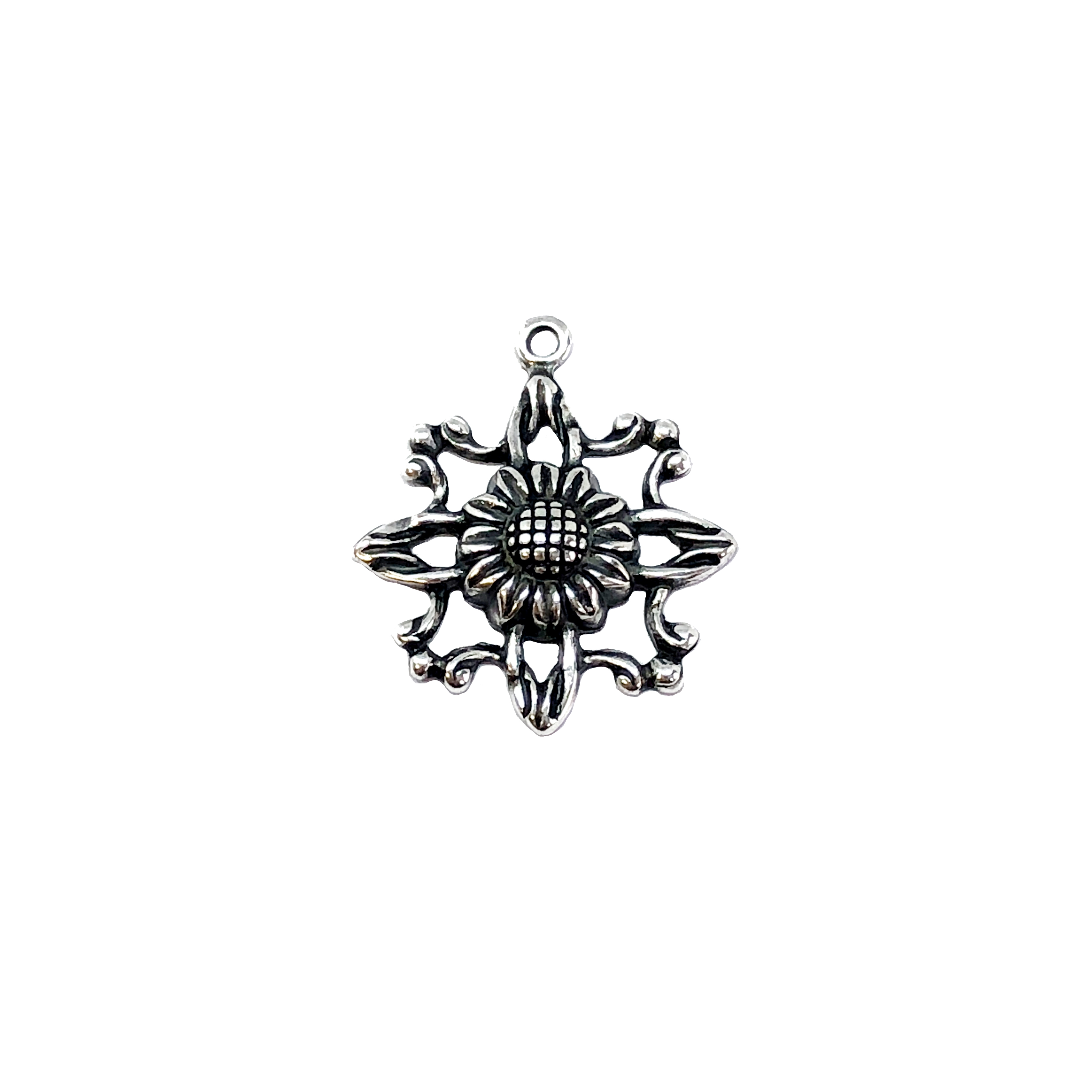 filigree flower drop, silverware silver plate, filigree, flower drop, sunflower stamping, charms, sunflower, 16x17mm, pieced, stamping, antique silver, brass, flower charm, flower, us made, nickel free, B'sue Boutiques, jewelry supplies, 04811