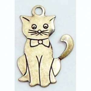 Kitty Charms, Kitty with Bow Tie, Jewelry Making, Brass Ox, 18 x 13mm