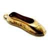 ballet shoe charm, classic gold plated, ballerina shoe charm, slipper, brass, charm, shoe charm, gold plated, gold, classic gold, slipper charm, ballerina shoe, 18x6mm, 22 karat gold plated, jewelry making, vintage supplies, B'sue Boutiques, 04981