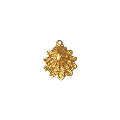 shell charm, classic gold plated, brass, classic gold, gold, gold plated, shell, charm, 15x14mm, 22 karat gold plated, jewelry making, vintage supplies, B'sue Boutiques, us made, nickel free, jewelry supplies, sea charm, seashell charm, 04986