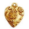 shamrock heart charm, art nouveau, classic gold plated, heart charm, gold plated, gold, 13mm, nickel free, us made, jewelry findings, B'sue Boutiques, charm, heart, flower, pendent, brass stamping, flower heart, classic gold, tiny charm, 04990