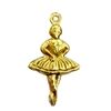 ballerina puffy charm, classic gold plated, brass, charm, ballerina stamping, puffy charm, dancer, gold, gold plated, classic gold, 25x14mm, ballerina charm, ballerina, jewelry making, two sided, 22 karat gold, vintage supplies, B'sue Boutiques, 05000