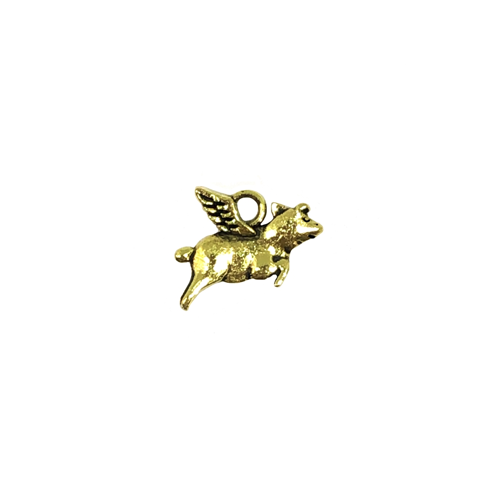 flying pig charm, goldtone, 0506, B'sue Boutiques, vintage jewelry supplies, brass jewelry parts, charms, animals, pigs, animal jewelry, jewelry findings