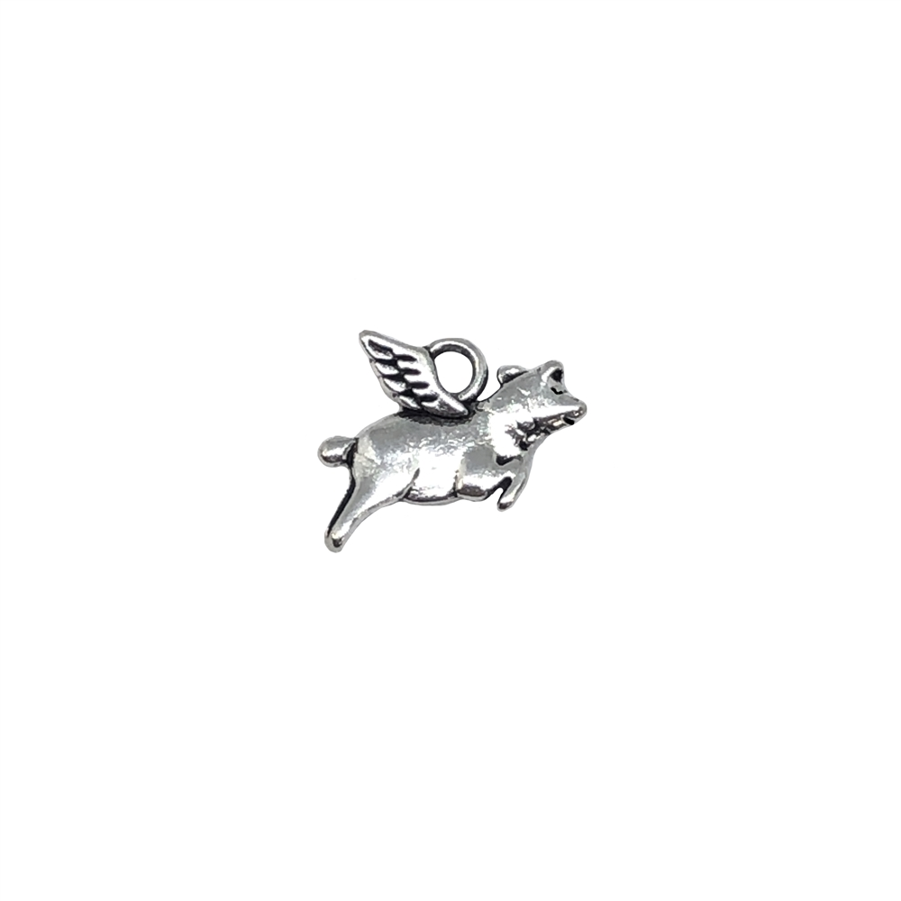 flying pig charm, silvertone, 0509, B'sue Boutiques, vintage jewelry supplies, brass jewelry parts, charms, animals, pigs, animal jewelry, jewelry findings