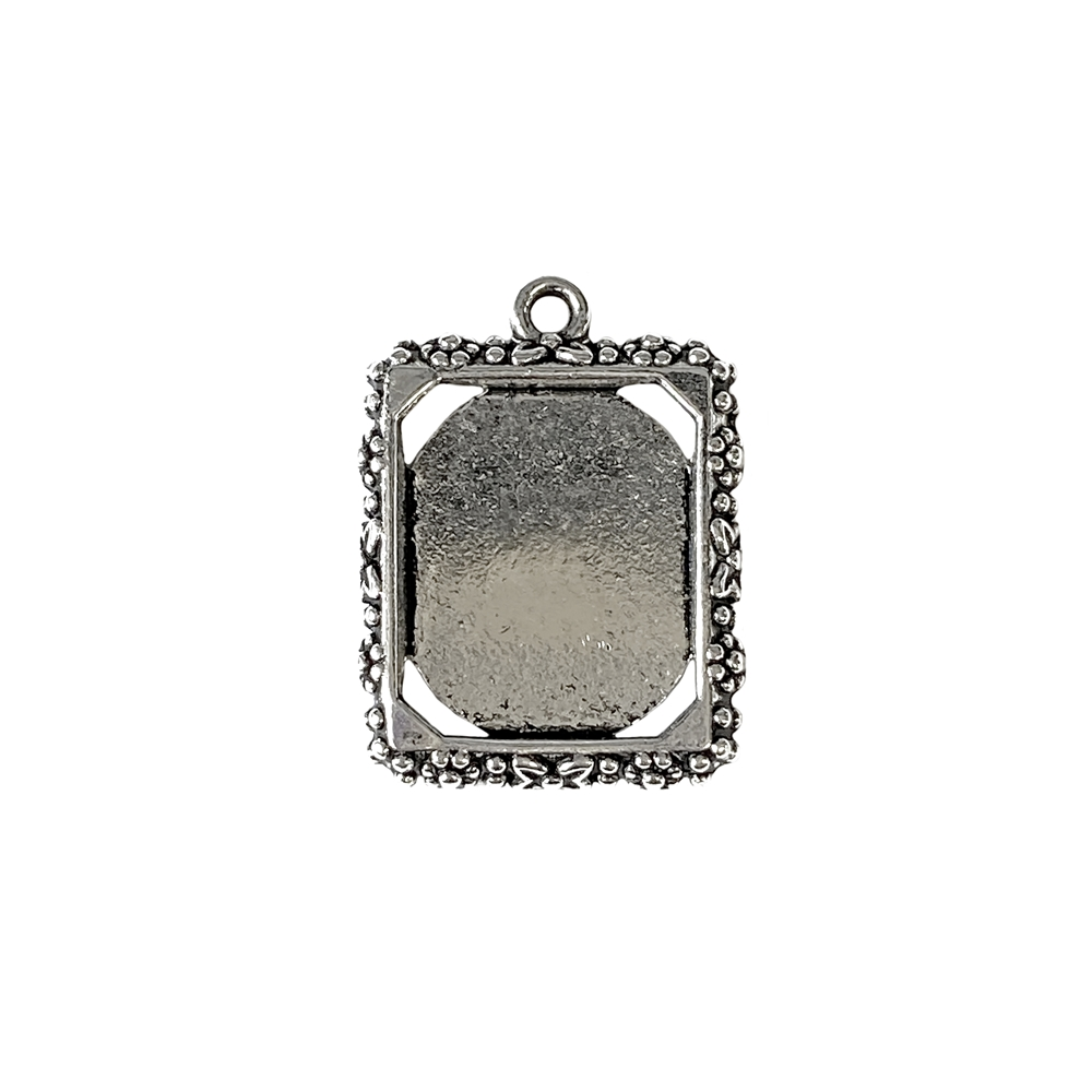 floral rectangle pendant mount, cast zinc, antique silver finish, 22x19mm, vintage supplies, floral pendant, mount pendant, silver, mount, pendant, jewelry findings, jewelry making, vintage supplies, jewelry supplies, charm, B'sue Boutiques, 05130