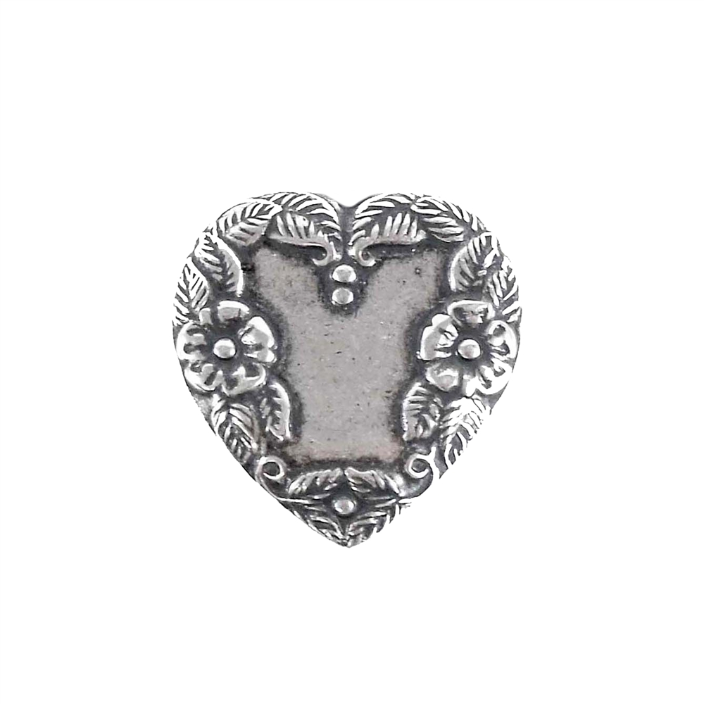 brass hearts, heart charms, silverware, 05148, vintage jewelry supplies, jewelry making supplies, nickel free jewelry supplies, US made, bsueboutiques, silverware silver plate, black antiquing, floral hearts, 22mm