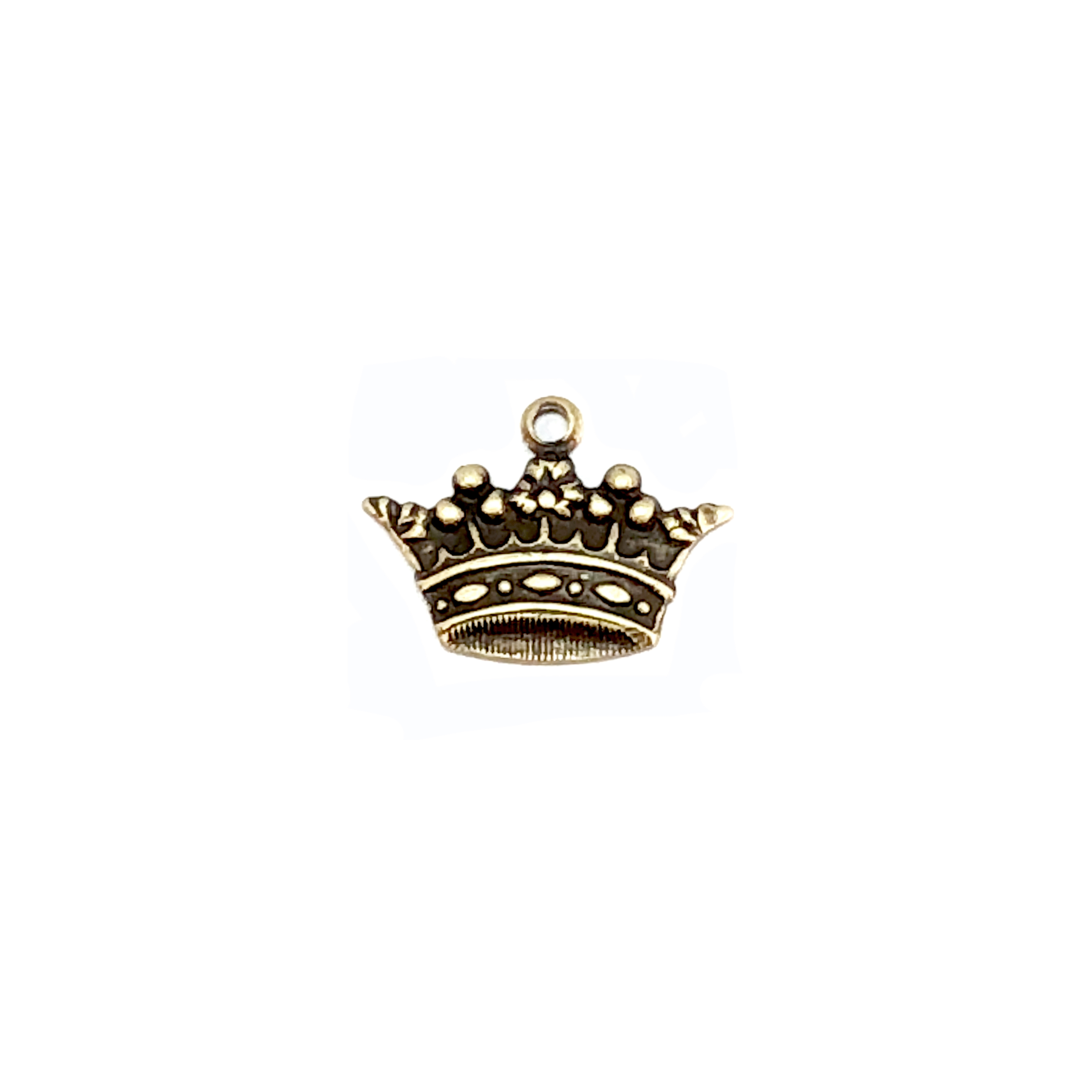 brass crown charm, brass ox, 05232, crown charms, antique brass, black antiquing, vintage jewelry supplies, jewelry making supplies, doll jewelry, US made, nickel free jewelry supplies, bsue boutiques