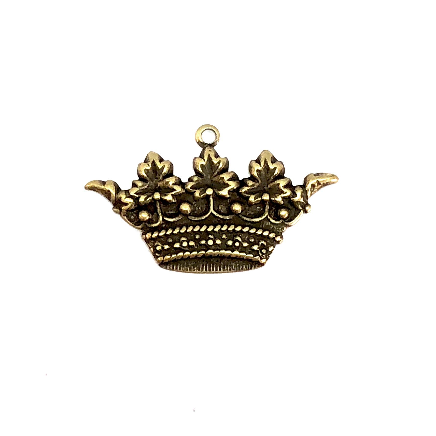 Brass Crown Charm, Brass Ox, 05310, charm bracelets, jewelry making supplies, vintage jewelry supplies, crown charms, antique brass, bracelet making supplies, US made, Bsue Boutiques, nickel free