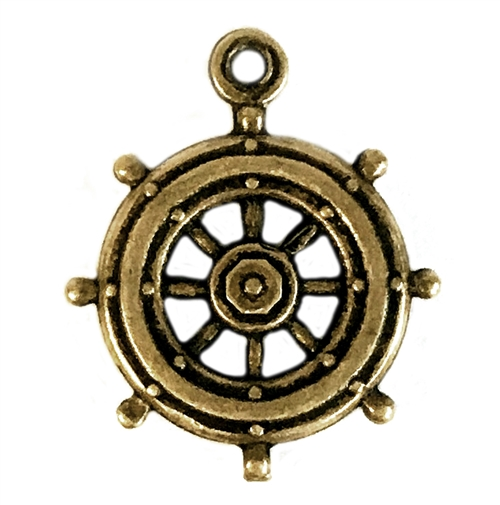 ship's wheel, stamping, 05732, brass stamping, brass ox, antique brass, boat wheel, ship, wheel, jewelry making, jewelry supplies, bsue boutiques, vintage stamping, vintage, vintage jewelry supplies,