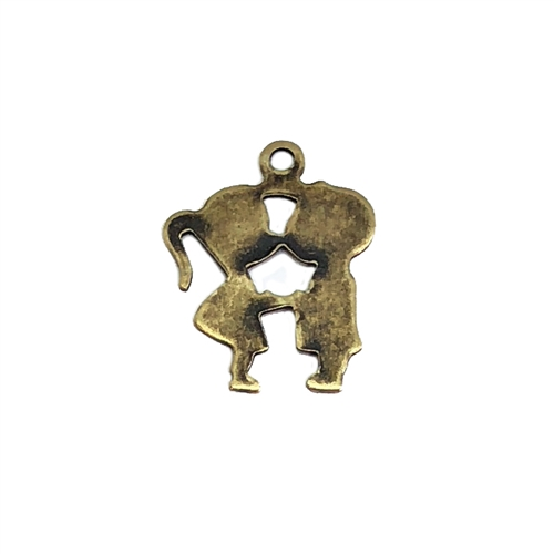 Boy Girl Charms, Kissing Charms, Brass Ox, 05962, antique black, kissing kids, kissing cousins, brass charms, US made, nickel free, Bsue Boutiques, jewelry making supplies, jewelry making, vintage supplies,
