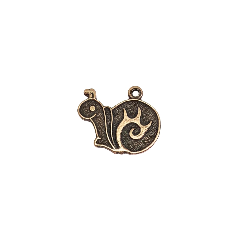snail charm, brass ox, antique brass, charm, snail, jewelry charm, 15x16mm, antique brass snail charm, beach jewelry, vintage supplies, jewelry supplies, jewelry making, B'sue Boutiques, nickel-free, jewelry findings, snail stamping, US-made, 05964