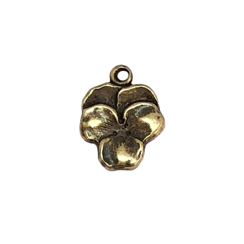 Brass Pansy Charm, flower charm, brass ox, brass stamping, floral, flower, Victorian, brass flowers, US made, nickel free, jewelry findings, B'sue Boutiques, 05965