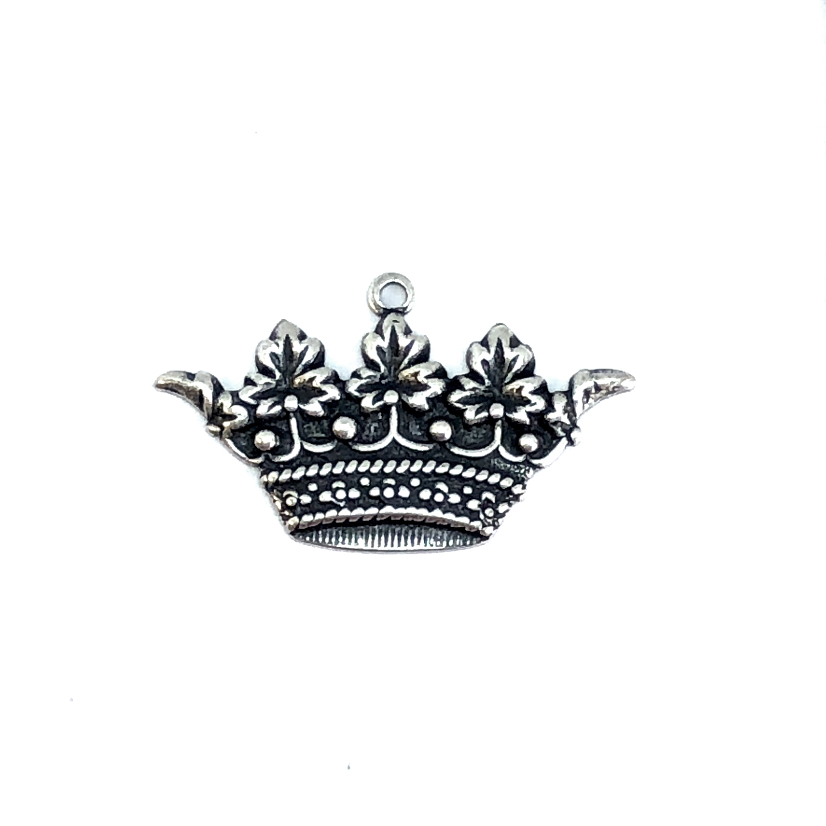 Brass Crown Charm, Silverware Silver Plate, 06112, charm bracelets, jewelry making supplies, vintage jewelry supplies, crown charms, antique silver, bracelet making supplies, US made, Bsue Boutiques, nickel free