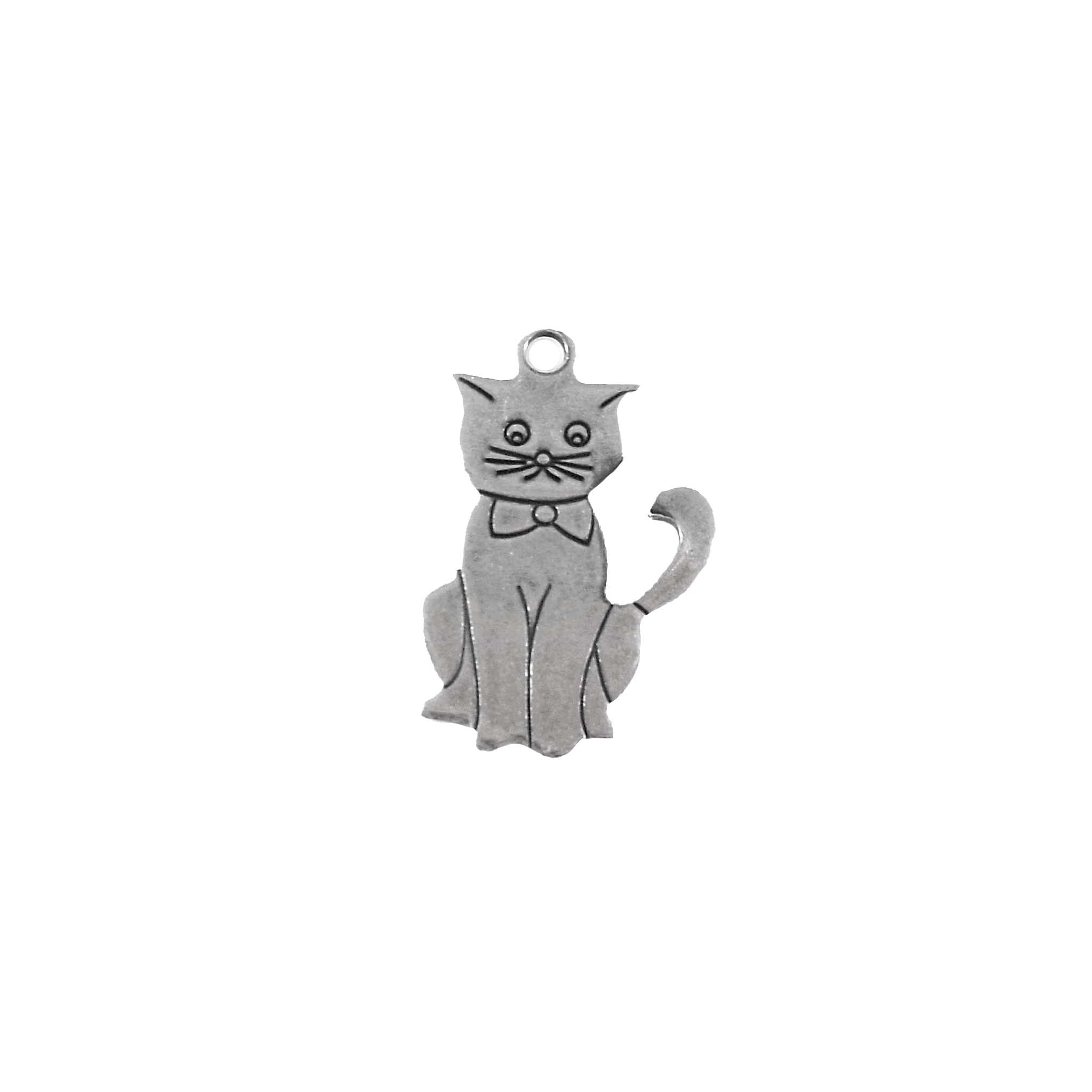 kitty charms, kitty with bow tie, jewelry making, silver, 06153, cat charm, cat, silver kitten, kitten, charms, pets, animals, silverware silverplate