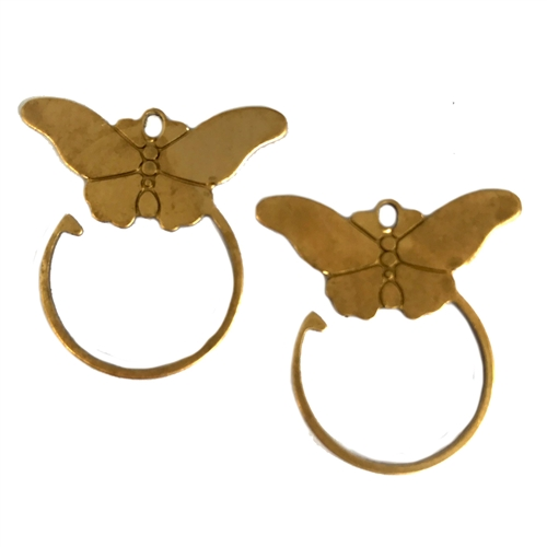 butterfly jewelry, raw brass, 27 x 25mm, 06230, charm enhancer, earrings, butterflies, jewelry supplies, jewelry making, Bsue Boutiques, unplated brass, butterfly earrings, earring base, base, hoops, hoop